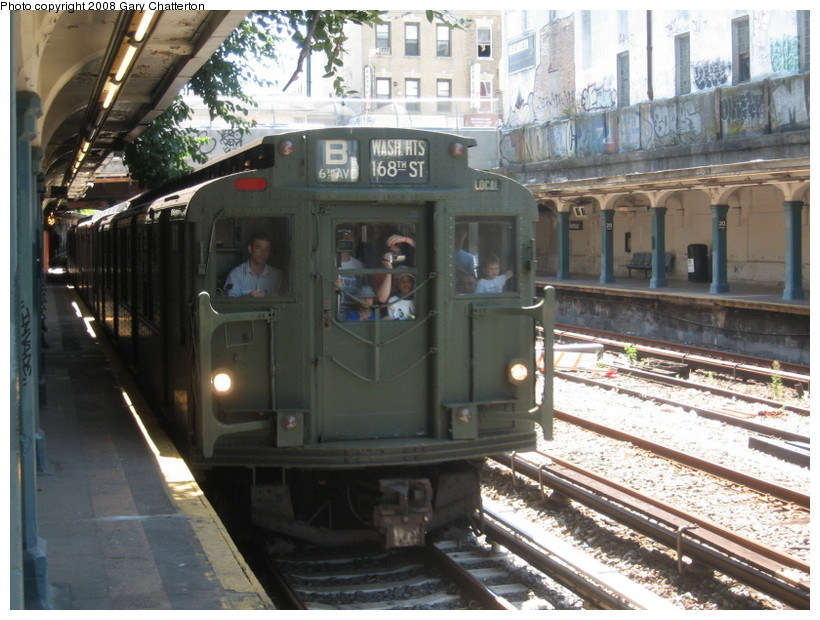 (154k, 820x620)<br><b>Country:</b> United States<br><b>City:</b> New York<br><b>System:</b> New York City Transit<br><b>Line:</b> BMT Sea Beach Line<br><b>Location:</b> 20th Avenue <br><b>Route:</b> Transit Museum Nostalgia Train<br><b>Car:</b> R-9 (Pressed Steel, 1940)  1802 <br><b>Photo by:</b> Gary Chatterton<br><b>Date:</b> 7/13/2008<br><b>Notes:</b> R9 1802 dressed up as 1689 (car equipment maintainer's joke?). The real 1689 is at Shore Line Trolley Museum.<br><b>Viewed (this week/total):</b> 0 / 2013