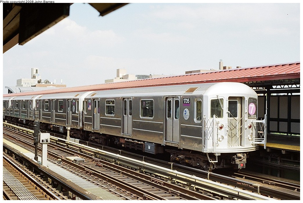 (268k, 1044x699)<br><b>Country:</b> United States<br><b>City:</b> New York<br><b>System:</b> New York City Transit<br><b>Line:</b> IRT Flushing Line<br><b>Location:</b> 74th Street/Broadway <br><b>Route:</b> 7<br><b>Car:</b> R-62A (Bombardier, 1984-1987)  1735 <br><b>Photo by:</b> John Barnes<br><b>Date:</b> 7/15/2008<br><b>Viewed (this week/total):</b> 2 / 1331