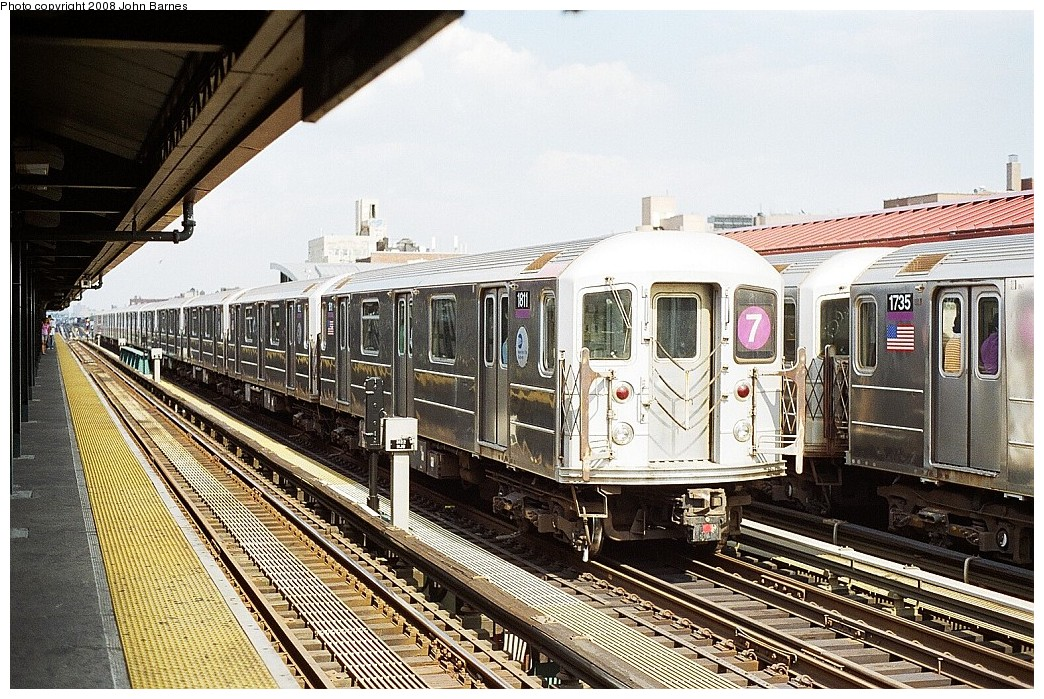 (295k, 1044x699)<br><b>Country:</b> United States<br><b>City:</b> New York<br><b>System:</b> New York City Transit<br><b>Line:</b> IRT Flushing Line<br><b>Location:</b> 74th Street/Broadway <br><b>Route:</b> 7<br><b>Car:</b> R-62A (Bombardier, 1984-1987)  1811 <br><b>Photo by:</b> John Barnes<br><b>Date:</b> 7/15/2008<br><b>Viewed (this week/total):</b> 0 / 1175