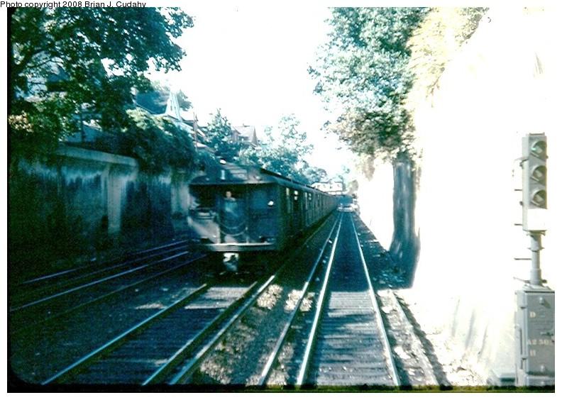 (150k, 792x564)<br><b>Country:</b> United States<br><b>City:</b> New York<br><b>System:</b> New York City Transit<br><b>Line:</b> BMT Brighton Line<br><b>Location:</b> Cortelyou Road <br><b>Car:</b> BMT D-Type Triplex  <br><b>Photo by:</b> Brian J. Cudahy<br><b>Date:</b> 1955<br><b>Notes:</b> Manhattan-bound Brighton Express<br><b>Viewed (this week/total):</b> 5 / 2127