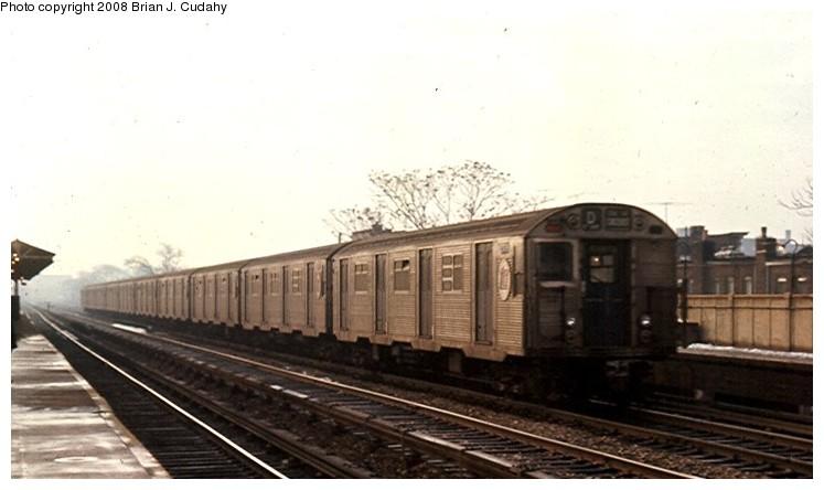 (80k, 747x444)<br><b>Country:</b> United States<br><b>City:</b> New York<br><b>System:</b> New York City Transit<br><b>Line:</b> BMT Brighton Line<br><b>Location:</b> Neck Road <br><b>Route:</b> D<br><b>Car:</b> R-32 (Budd, 1964)   <br><b>Photo by:</b> Brian J. Cudahy<br><b>Date:</b> 12/1968<br><b>Notes:</b> Brighton Beach-bound D Train with R-32 units at Neck Road on Brighton Line.<br><b>Viewed (this week/total):</b> 1 / 1958