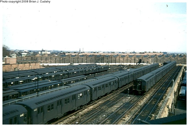 (110k, 773x520)<br><b>Country:</b> United States<br><b>City:</b> New York<br><b>System:</b> New York City Transit<br><b>Location:</b> East New York Yard/Shops<br><b>Car:</b> R-16 (American Car & Foundry, 1955)  <br><b>Photo by:</b> Brian J. Cudahy<br><b>Date:</b> 3/1960<br><b>Notes:</b> R-16 and AB units at East New York Yard.<br><b>Viewed (this week/total):</b> 0 / 2538