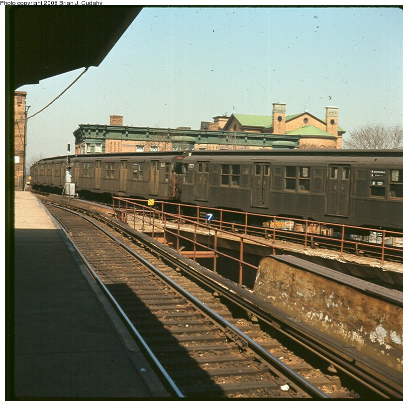 (184k, 820x816)<br><b>Country:</b> United States<br><b>City:</b> New York<br><b>System:</b> New York City Transit<br><b>Location:</b> East New York Yard/Shops<br><b>Car:</b> R-9 (Pressed Steel, 1940)  1777 <br><b>Photo by:</b> Brian J. Cudahy<br><b>Date:</b> 4/1969<br><b>Notes:</b> R units assigned to K Train service on East New York Yard lead.<br><b>Viewed (this week/total):</b> 3 / 1766