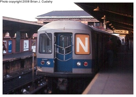 (62k, 534x384)<br><b>Country:</b> United States<br><b>City:</b> New York<br><b>System:</b> New York City Transit<br><b>Location:</b> Coney Island/Stillwell Avenue<br><b>Route:</b> N<br><b>Car:</b> R-40M (St. Louis, 1969)   <br><b>Photo by:</b> Brian J. Cudahy<br><b>Date:</b> 2/1970<br><b>Notes:</b> Track 2, Stillwell Avenue.<br><b>Viewed (this week/total):</b> 4 / 2418