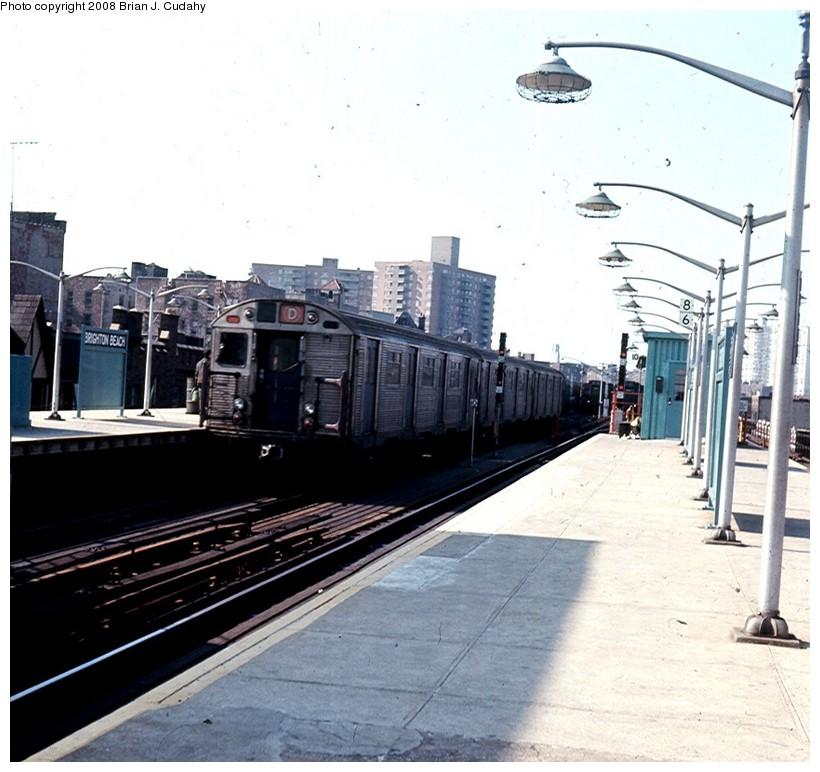 (150k, 820x772)<br><b>Country:</b> United States<br><b>City:</b> New York<br><b>System:</b> New York City Transit<br><b>Line:</b> BMT Brighton Line<br><b>Location:</b> Brighton Beach <br><b>Route:</b> D<br><b>Car:</b> R-32 (Budd, 1964)   <br><b>Photo by:</b> Brian J. Cudahy<br><b>Date:</b> 1973<br><b>Notes:</b> Bronx-bound D Train at Brighton Beach.<br><b>Viewed (this week/total):</b> 0 / 1980