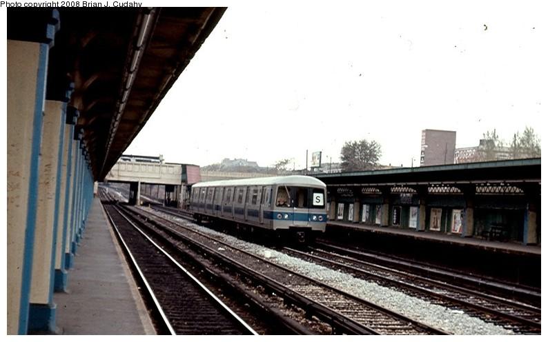 (105k, 794x496)<br><b>Country:</b> United States<br><b>City:</b> New York<br><b>System:</b> New York City Transit<br><b>Line:</b> BMT Sea Beach Line<br><b>Location:</b> Fort Hamilton Parkway <br><b>Car:</b> R-44 (St. Louis, 1971-73)  <br><b>Photo by:</b> Brian J. Cudahy<br><b>Date:</b> 1974<br><b>Notes:</b> New R-44 units testing along Sea Beach Express tracks.<br><b>Viewed (this week/total):</b> 3 / 2132