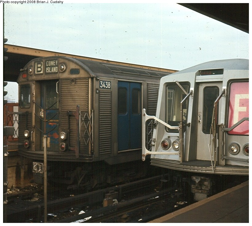 (150k, 820x736)<br><b>Country:</b> United States<br><b>City:</b> New York<br><b>System:</b> New York City Transit<br><b>Location:</b> Coney Island/Stillwell Avenue<br><b>Route:</b> B<br><b>Car:</b> R-32 (Budd, 1964)   <br><b>Photo by:</b> Brian J. Cudahy<br><b>Date:</b> 11/1969<br><b>Notes:</b> R-32 units in B Train service and R-40s on the F Train at Stillwell.<br><b>Viewed (this week/total):</b> 6 / 2616
