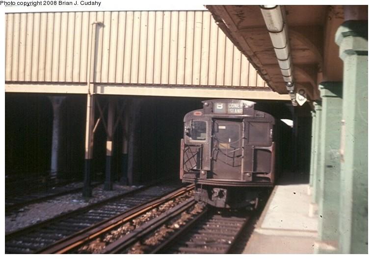 (105k, 760x529)<br><b>Country:</b> United States<br><b>City:</b> New York<br><b>System:</b> New York City Transit<br><b>Line:</b> BMT Sea Beach Line<br><b>Location:</b> Avenue U <br><b>Photo by:</b> Brian J. Cudahy<br><b>Date:</b> 2/1970<br><b>Notes:</b> This train of R units had just deadheaded through the station.<br><b>Viewed (this week/total):</b> 0 / 1396