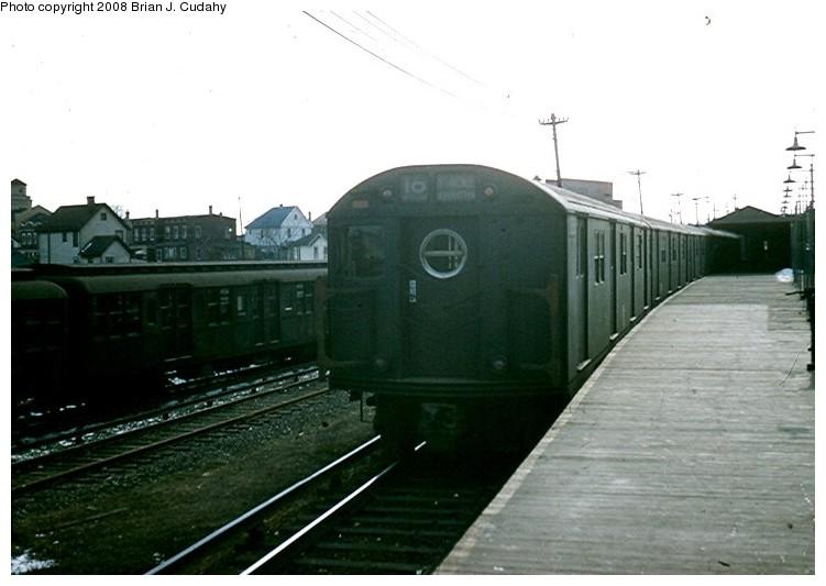 (92k, 751x533)<br><b>Country:</b> United States<br><b>City:</b> New York<br><b>System:</b> New York City Transit<br><b>Location:</b> Rockaway Parkway (Canarsie) Yard<br><b>Route:</b> BMT 16 (L)<br><b>Car:</b> R-16 (American Car & Foundry, 1955)  <br><b>Photo by:</b> Brian J. Cudahy<br><b>Date:</b> 5/1958<br><b>Viewed (this week/total):</b> 3 / 1618