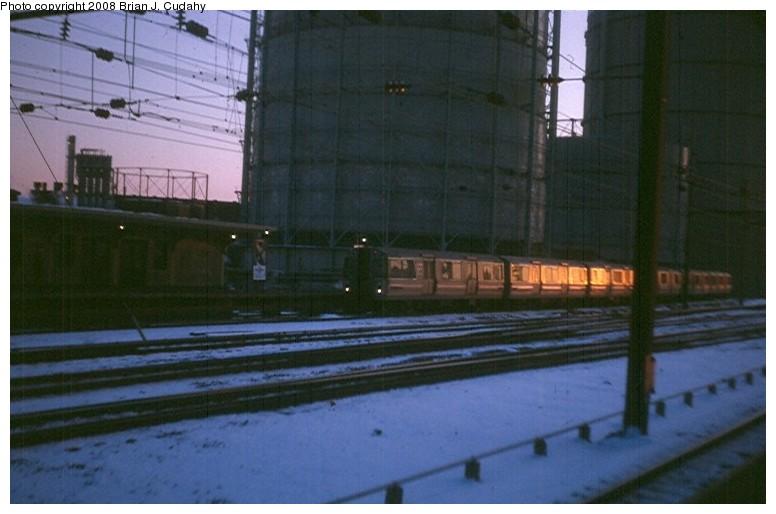 (99k, 776x514)<br><b>Country:</b> United States<br><b>City:</b> Harrison, NJ<br><b>System:</b> PATH<br><b>Location:</b> Harrison <br><b>Car:</b> PATH PA-1 (St. Louis Car, 1965)   <br><b>Photo by:</b> Brian J. Cudahy<br><b>Date:</b> 1971<br><b>Notes:</b> WTC-bound PATH train at Harrison.<br><b>Viewed (this week/total):</b> 2 / 1514