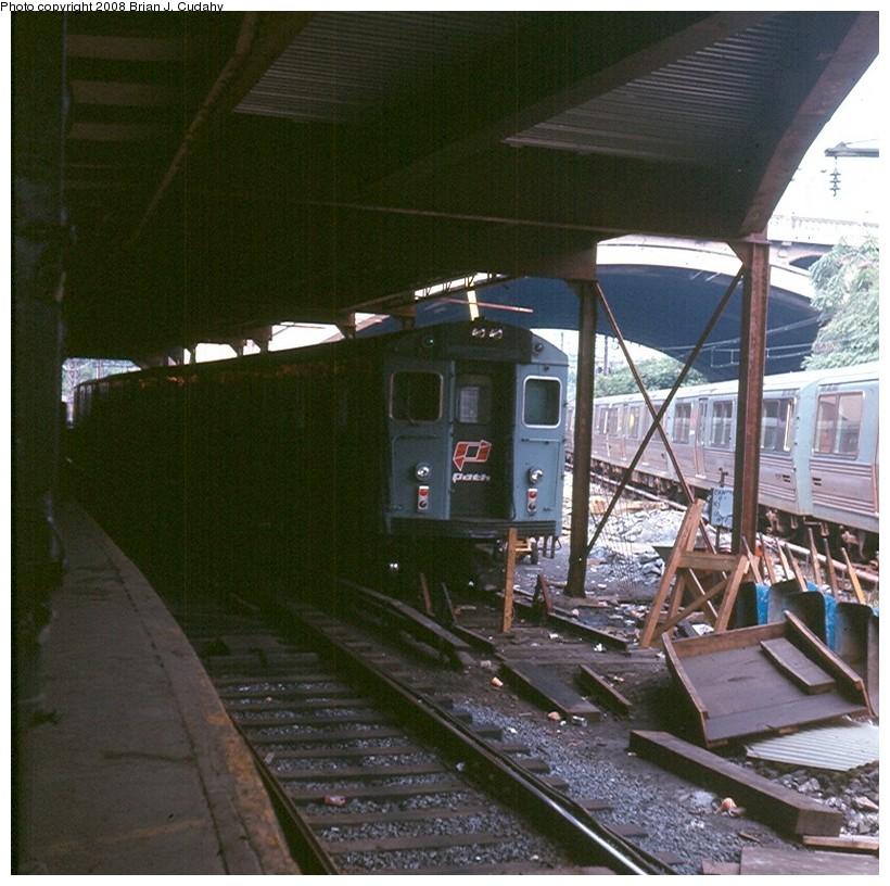 (190k, 820x816)<br><b>Country:</b> United States<br><b>City:</b> Jersey City, NJ<br><b>System:</b> PATH<br><b>Location:</b> Journal Square Yard <br><b>Car:</b> H&M/PATH K-class  <br><b>Photo by:</b> Brian J. Cudahy<br><b>Date:</b> 1971<br><b>Notes:</b> PATH K-Class equipment at Journal Square.<br><b>Viewed (this week/total):</b> 2 / 1558