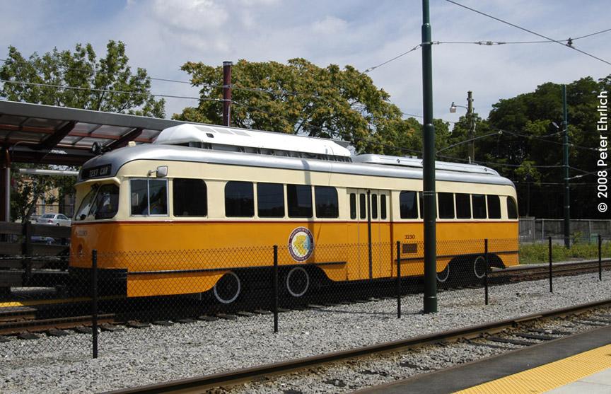 (226k, 864x557)<br><b>Country:</b> United States<br><b>City:</b> Boston, MA<br><b>System:</b> MBTA<br><b>Line:</b> MBTA Mattapan-Ashmont Line<br><b>Location:</b> Mattapan <br><b>Car:</b> MBTA/BSRy PCC Wartime (Pullman-Standard, 1945-46)  3230 <br><b>Photo by:</b> Peter Ehrlich<br><b>Date:</b> 7/17/2008<br><b>Viewed (this week/total):</b> 0 / 1325