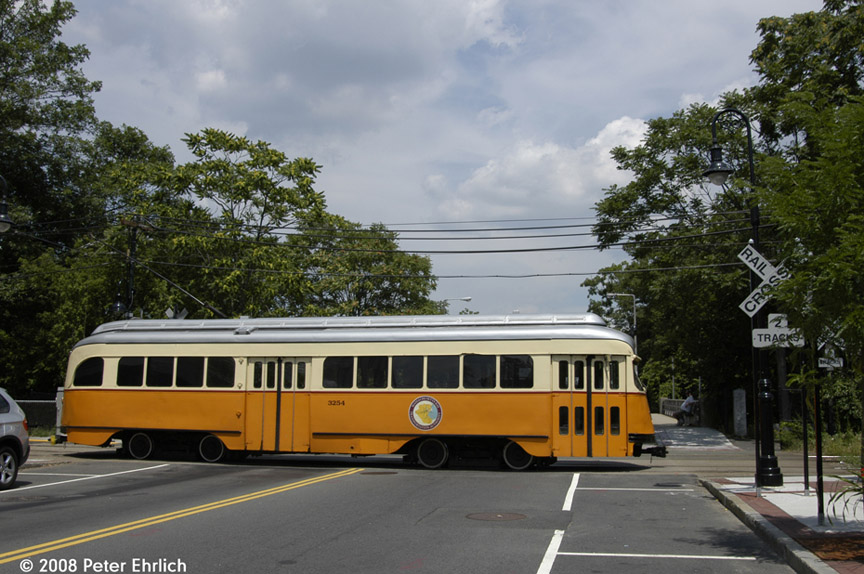 (194k, 864x574)<br><b>Country:</b> United States<br><b>City:</b> Boston, MA<br><b>System:</b> MBTA<br><b>Line:</b> MBTA Mattapan-Ashmont Line<br><b>Location:</b> Central Avenue <br><b>Car:</b> MBTA/BSRy PCC Wartime (Pullman-Standard, 1945-46)  3254 <br><b>Photo by:</b> Peter Ehrlich<br><b>Date:</b> 7/17/2008<br><b>Notes:</b> Inbound car at Central Avenue.<br><b>Viewed (this week/total):</b> 0 / 951