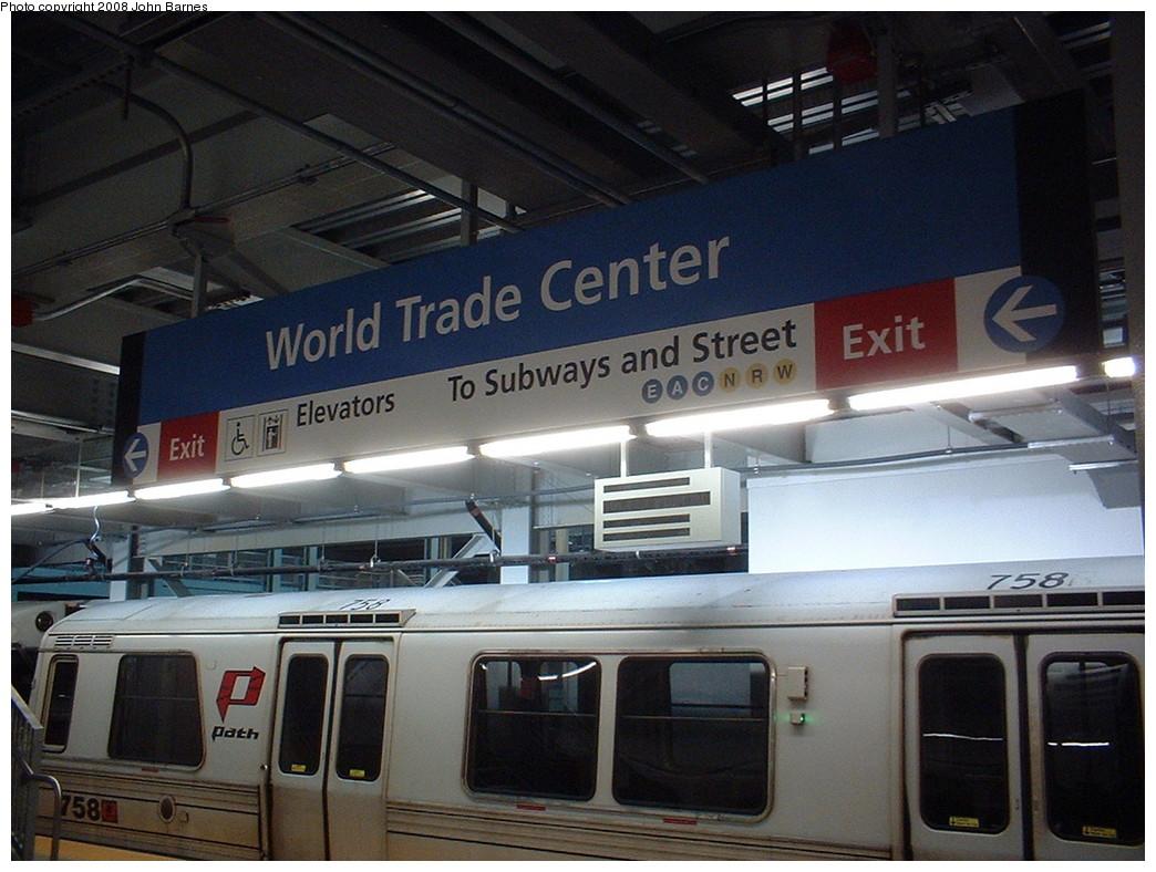 (215k, 1044x788)<br><b>Country:</b> United States<br><b>City:</b> New York<br><b>System:</b> PATH<br><b>Location:</b> World Trade Center <br><b>Car:</b> PATH PA-3 (Hawker-Siddley, 1972)  758 <br><b>Photo by:</b> John Barnes<br><b>Date:</b> 11/24/2003<br><b>Notes:</b> Re-opening day.<br><b>Viewed (this week/total):</b> 1 / 1368