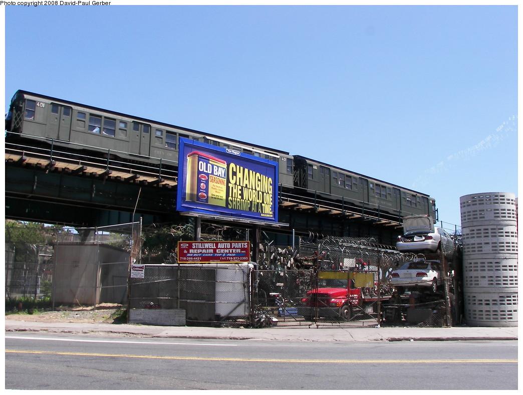 (274k, 1044x788)<br><b>Country:</b> United States<br><b>City:</b> New York<br><b>System:</b> New York City Transit<br><b>Line:</b> BMT West End Line<br><b>Location:</b> Bay 50th Street <br><b>Route:</b> Transit Museum Nostalgia Train<br><b>Car:</b> R-4 (American Car & Foundry, 1932-1933) 401 <br><b>Photo by:</b> David-Paul Gerber<br><b>Date:</b> 7/13/2008<br><b>Viewed (this week/total):</b> 1 / 2437