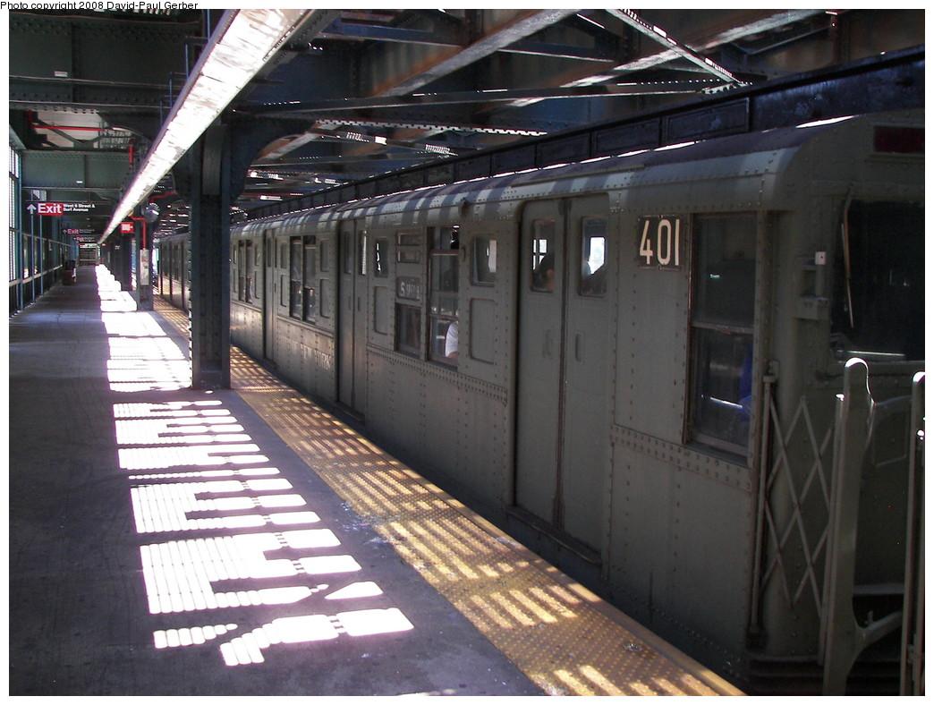 (275k, 1044x788)<br><b>Country:</b> United States<br><b>City:</b> New York<br><b>System:</b> New York City Transit<br><b>Line:</b> BMT Culver Line<br><b>Location:</b> West 8th Street <br><b>Route:</b> Transit Museum Nostalgia Train<br><b>Car:</b> R-4 (American Car & Foundry, 1932-1933) 401 <br><b>Photo by:</b> David-Paul Gerber<br><b>Date:</b> 7/13/2008<br><b>Viewed (this week/total):</b> 0 / 1587