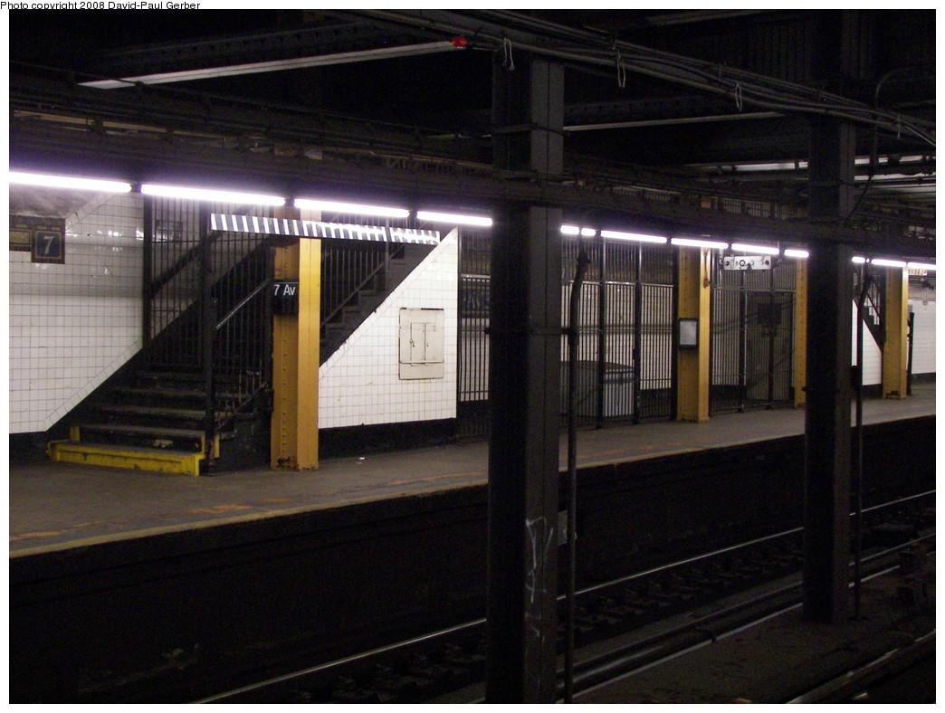 (269k, 1044x788)<br><b>Country:</b> United States<br><b>City:</b> New York<br><b>System:</b> New York City Transit<br><b>Line:</b> BMT Brighton Line<br><b>Location:</b> 7th Avenue <br><b>Photo by:</b> David-Paul Gerber<br><b>Date:</b> 5/20/2008<br><b>Notes:</b> Two closed staircases at south end.<br><b>Viewed (this week/total):</b> 0 / 1917