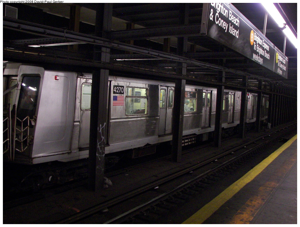 (274k, 1044x788)<br><b>Country:</b> United States<br><b>City:</b> New York<br><b>System:</b> New York City Transit<br><b>Line:</b> BMT Brighton Line<br><b>Location:</b> 7th Avenue <br><b>Route:</b> B<br><b>Car:</b> R-40 (St. Louis, 1968)  4270 <br><b>Photo by:</b> David-Paul Gerber<br><b>Date:</b> 5/20/2008<br><b>Viewed (this week/total):</b> 1 / 2757