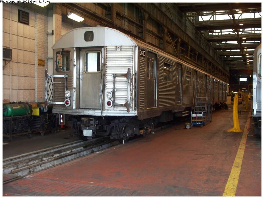 (212k, 1044x788)<br><b>Country:</b> United States<br><b>City:</b> New York<br><b>System:</b> New York City Transit<br><b>Location:</b> 207th Street Shop<br><b>Car:</b> R-32 (Budd, 1964)  3650/3767 <br><b>Photo by:</b> Glenn L. Rowe<br><b>Date:</b> 7/24/2008<br><b>Viewed (this week/total):</b> 0 / 2130