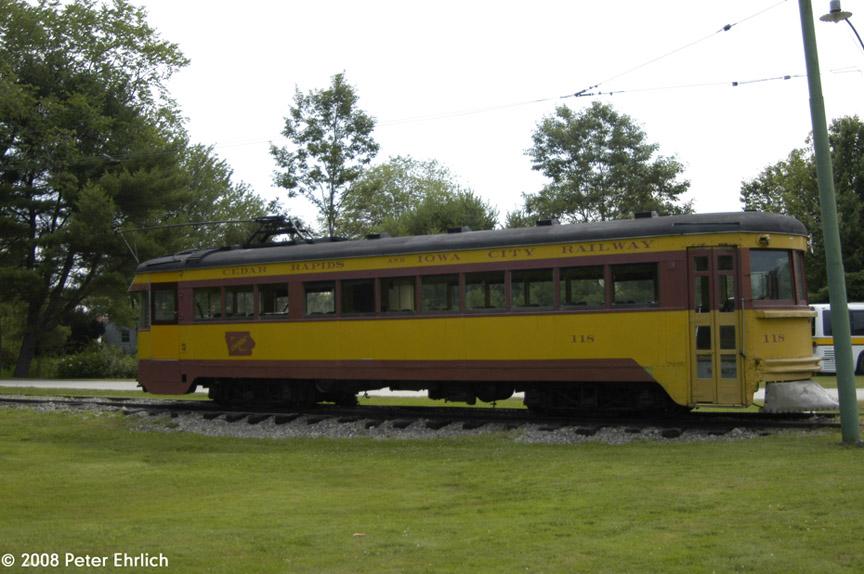(171k, 864x574)<br><b>Country:</b> United States<br><b>City:</b> Kennebunk, ME<br><b>System:</b> Seashore Trolley Museum <br><b>Car:</b>  118 <br><b>Photo by:</b> Peter Ehrlich<br><b>Date:</b> 7/18/2008<br><b>Notes:</b> Crandic 118. At Museum Entrance.<br><b>Viewed (this week/total):</b> 1 / 831
