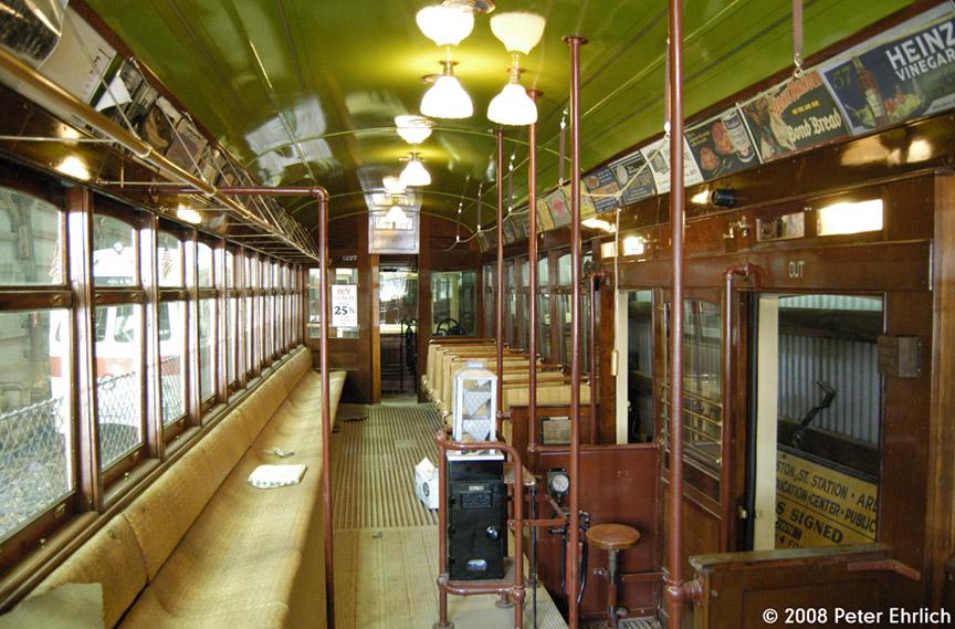 (233k, 864x569)<br><b>Country:</b> United States<br><b>City:</b> Kennebunk, ME<br><b>System:</b> Seashore Trolley Museum <br><b>Car:</b>  1227 <br><b>Photo by:</b> Peter Ehrlich<br><b>Date:</b> 7/18/2008<br><b>Notes:</b> Cleveland Railways Center-Entrance 1227. Interior.<br><b>Viewed (this week/total):</b> 0 / 913