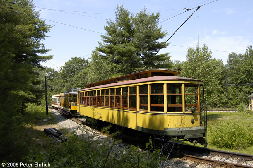 (239k, 864x574)<br><b>Country:</b> United States<br><b>City:</b> Kennebunk, ME<br><b>System:</b> Seashore Trolley Museum <br><b>Car:</b> Twin City Rapid Transit 1267 <br><b>Photo by:</b> Peter Ehrlich<br><b>Date:</b> 7/18/2008<br><b>Notes:</b> Twin City Rapid Transit 1267. At Talbot Park. With Connecticut 303 and TARS 631.<br><b>Viewed (this week/total):</b> 0 / 568