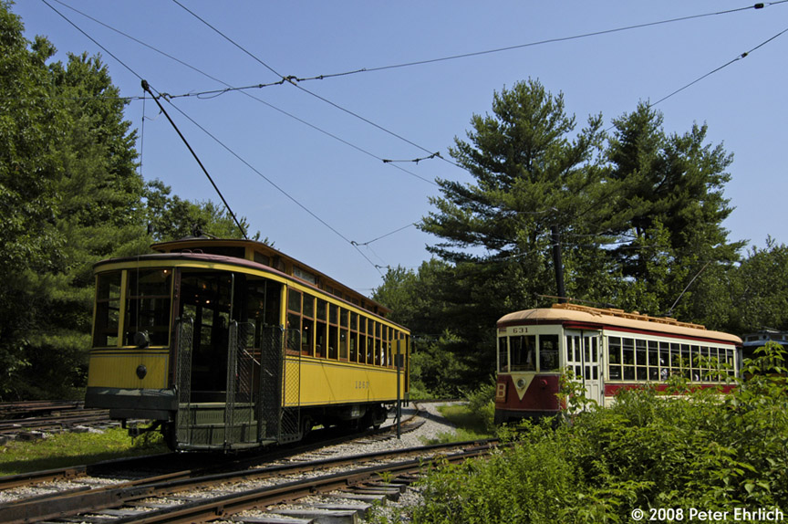 (232k, 864x574)<br><b>Country:</b> United States<br><b>City:</b> Kennebunk, ME<br><b>System:</b> Seashore Trolley Museum <br><b>Car:</b> Twin City Rapid Transit 1267 <br><b>Photo by:</b> Peter Ehrlich<br><b>Date:</b> 7/18/2008<br><b>Notes:</b> Twin City Rapid Transit 1267. At Talbot Park. With TARS 631.<br><b>Viewed (this week/total):</b> 0 / 654