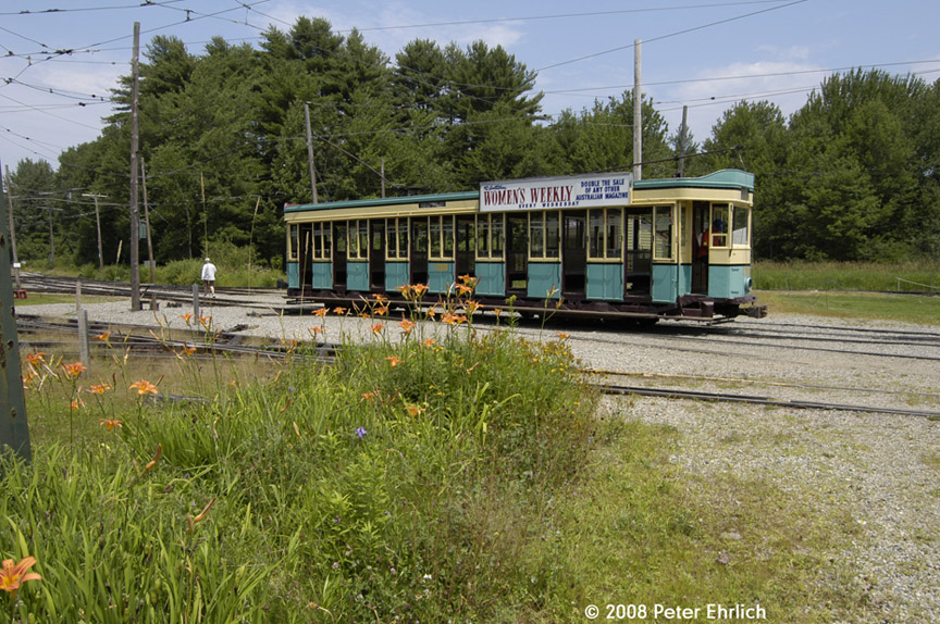 (265k, 864x574)<br><b>Country:</b> United States<br><b>City:</b> Kennebunk, ME<br><b>System:</b> Seashore Trolley Museum <br><b>Car:</b>  1700 <br><b>Photo by:</b> Peter Ehrlich<br><b>Date:</b> 7/18/2008<br><b>Notes:</b> 1700 at Visitor center loop.<br><b>Viewed (this week/total):</b> 0 / 626