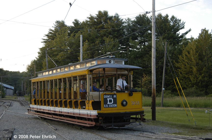 (201k, 864x572)<br><b>Country:</b> United States<br><b>City:</b> Kennebunk, ME<br><b>System:</b> Seashore Trolley Museum <br><b>Car:</b> Connecticut Company 303 <br><b>Photo by:</b> Peter Ehrlich<br><b>Date:</b> 7/18/2008<br><b>Notes:</b> Connecticut Co. open car 303. At Visitor Center.<br><b>Viewed (this week/total):</b> 2 / 788