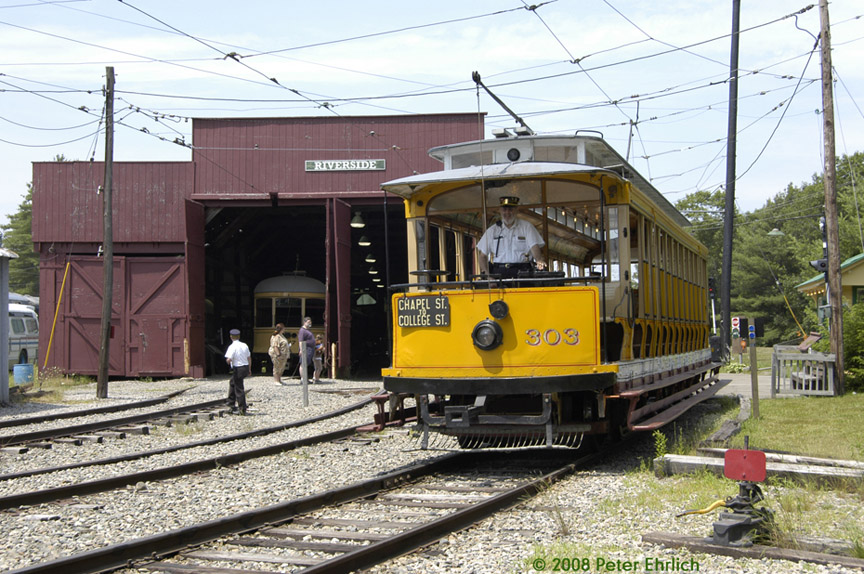 (237k, 864x574)<br><b>Country:</b> United States<br><b>City:</b> Kennebunk, ME<br><b>System:</b> Seashore Trolley Museum <br><b>Car:</b> Connecticut Company 303 <br><b>Photo by:</b> Peter Ehrlich<br><b>Date:</b> 7/18/2008<br><b>Notes:</b> Connecticut Co. open car 303. At Morrison inbound.<br><b>Viewed (this week/total):</b> 0 / 577