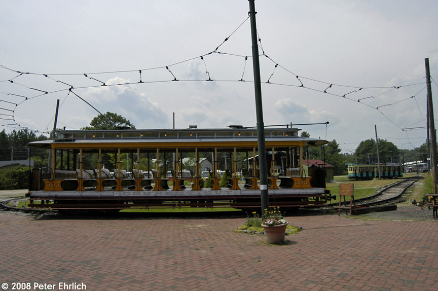 (169k, 864x574)<br><b>Country:</b> United States<br><b>City:</b> Kennebunk, ME<br><b>System:</b> Seashore Trolley Museum <br><b>Car:</b> Connecticut Company 303 <br><b>Photo by:</b> Peter Ehrlich<br><b>Date:</b> 7/18/2008<br><b>Notes:</b> Connecticut Co. open car 303. At Visitor Center.<br><b>Viewed (this week/total):</b> 0 / 645