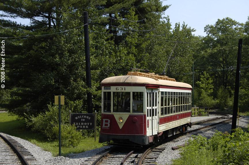 (259k, 864x574)<br><b>Country:</b> United States<br><b>City:</b> Kennebunk, ME<br><b>System:</b> Seashore Trolley Museum <br><b>Car:</b> TARS 631 <br><b>Photo by:</b> Peter Ehrlich<br><b>Date:</b> 7/18/2008<br><b>Notes:</b> Third Avenue Railway System Huffliner: 631. At Talbot Park.<br><b>Viewed (this week/total):</b> 1 / 627