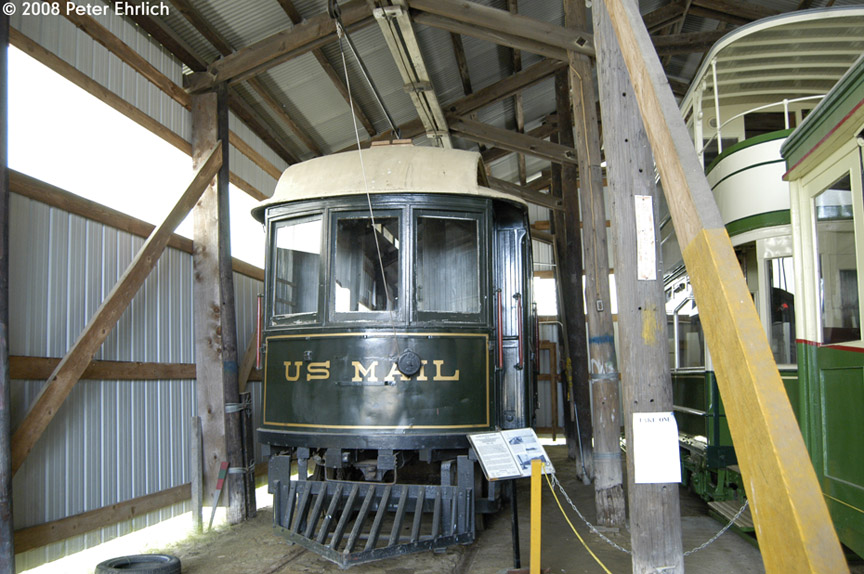 (205k, 864x574)<br><b>Country:</b> United States<br><b>City:</b> Kennebunk, ME<br><b>System:</b> Seashore Trolley Museum <br><b>Car:</b> Portsmouth, Dover, & York 108 <br><b>Photo by:</b> Peter Ehrlich<br><b>Date:</b> 7/18/2008<br><b>Notes:</b> Mail Car-Portsmouth, Dover & York St. Ry. 108. South Boston Carhouse.<br><b>Viewed (this week/total):</b> 0 / 524
