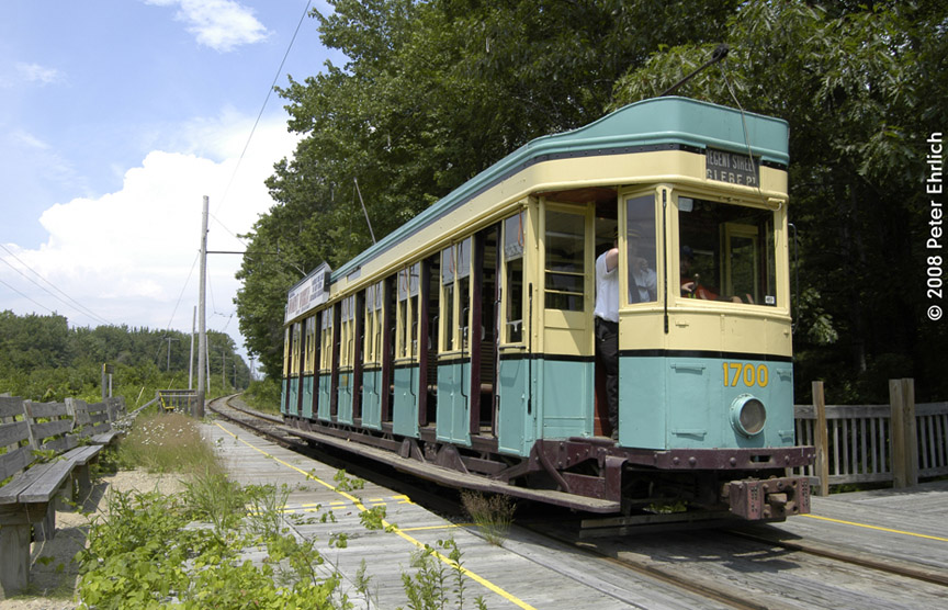 (218k, 864x556)<br><b>Country:</b> United States<br><b>City:</b> Kennebunk, ME<br><b>System:</b> Seashore Trolley Museum <br><b>Car:</b>  1700 <br><b>Photo by:</b> Peter Ehrlich<br><b>Date:</b> 7/18/2008<br><b>Notes:</b> 1700 at Meserve, Inbound.<br><b>Viewed (this week/total):</b> 1 / 695