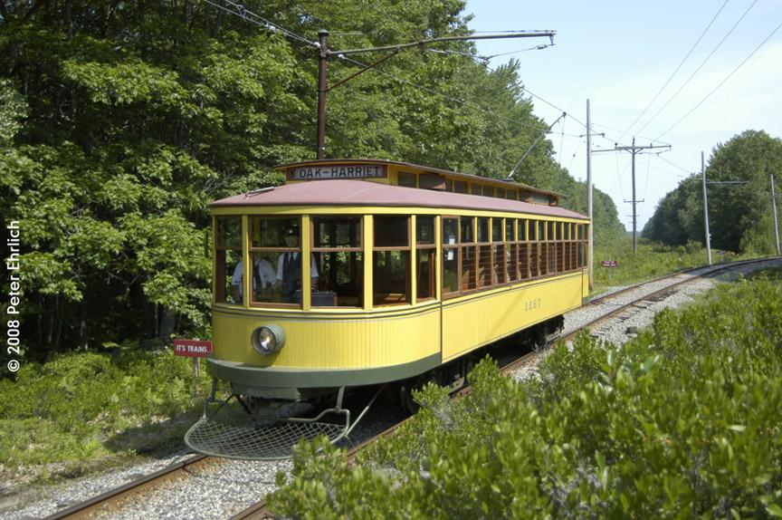 (248k, 864x574)<br><b>Country:</b> United States<br><b>City:</b> Kennebunk, ME<br><b>System:</b> Seashore Trolley Museum <br><b>Car:</b> Twin City Rapid Transit 1267 <br><b>Photo by:</b> Peter Ehrlich<br><b>Date:</b> 7/18/2008<br><b>Notes:</b> 1267 south of Talbot Park.<br><b>Viewed (this week/total):</b> 1 / 685