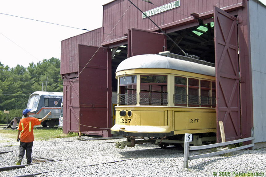 (219k, 864x574)<br><b>Country:</b> United States<br><b>City:</b> Kennebunk, ME<br><b>System:</b> Seashore Trolley Museum <br><b>Car:</b>  1227 <br><b>Photo by:</b> Peter Ehrlich<br><b>Date:</b> 7/18/2008<br><b>Notes:</b> Cleveland Railways Center-Entrance 1227. Pulling out from Riverside Barn.<br><b>Viewed (this week/total):</b> 0 / 726