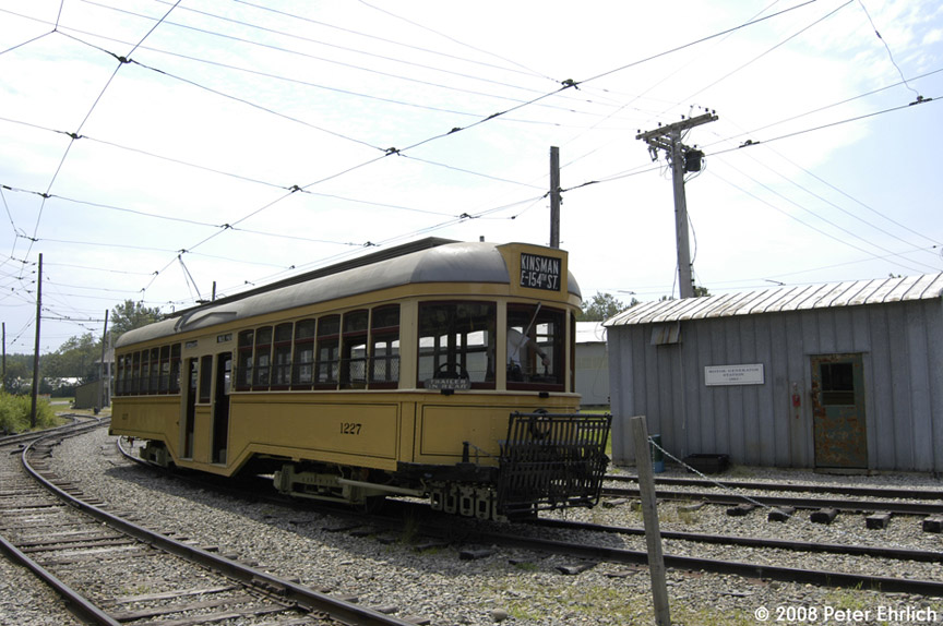 (183k, 864x574)<br><b>Country:</b> United States<br><b>City:</b> Kennebunk, ME<br><b>System:</b> Seashore Trolley Museum <br><b>Car:</b>  1227 <br><b>Photo by:</b> Peter Ehrlich<br><b>Date:</b> 7/18/2008<br><b>Notes:</b> Cleveland Railways Center-Entrance 1227. Pulling out from Riverside Barn.<br><b>Viewed (this week/total):</b> 0 / 777