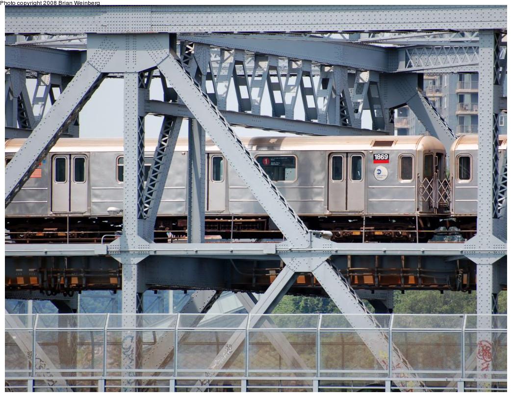 (339k, 1044x809)<br><b>Country:</b> United States<br><b>City:</b> New York<br><b>System:</b> New York City Transit<br><b>Line:</b> IRT West Side Line<br><b>Location:</b> Broadway Bridge <br><b>Route:</b> 1<br><b>Car:</b> R-62A (Bombardier, 1984-1987)  1869 <br><b>Photo by:</b> Brian Weinberg<br><b>Date:</b> 7/17/2008<br><b>Viewed (this week/total):</b> 1 / 1807