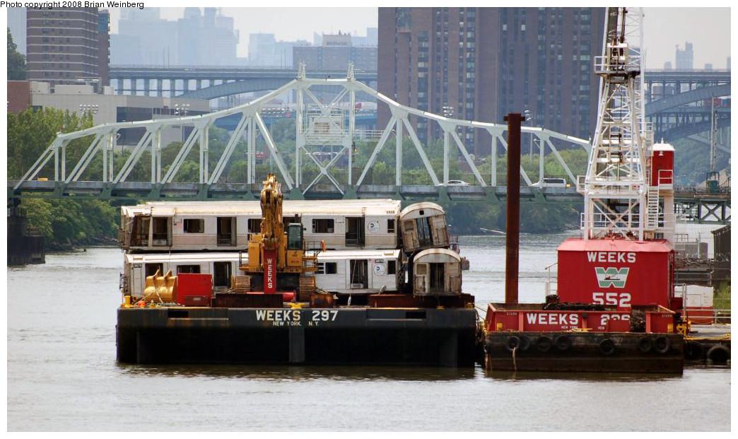 (239k, 1044x621)<br><b>Country:</b> United States<br><b>City:</b> New York<br><b>System:</b> New York City Transit<br><b>Location:</b> 207th Street Yard<br><b>Car:</b> R-32 (Budd, 1964)  3675 <br><b>Photo by:</b> Brian Weinberg<br><b>Date:</b> 7/17/2008<br><b>Notes:</b> Barge-Scrapping<br><b>Viewed (this week/total):</b> 3 / 1628