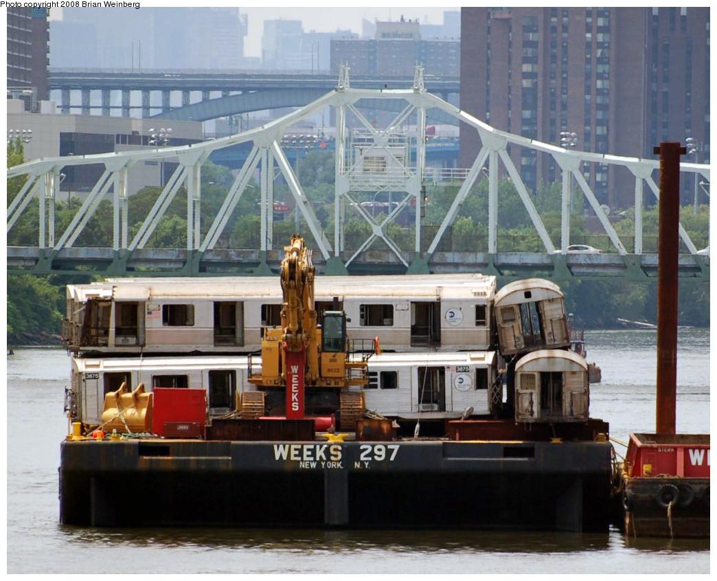 (285k, 1044x846)<br><b>Country:</b> United States<br><b>City:</b> New York<br><b>System:</b> New York City Transit<br><b>Location:</b> 207th Street Yard<br><b>Car:</b> R-32 (Budd, 1964)  3675 <br><b>Photo by:</b> Brian Weinberg<br><b>Date:</b> 7/17/2008<br><b>Notes:</b> Barge-Scrapping<br><b>Viewed (this week/total):</b> 3 / 9067