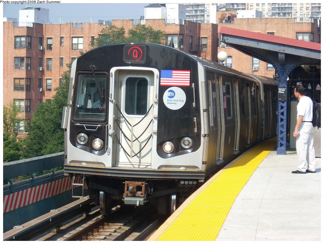 (288k, 1044x788)<br><b>Country:</b> United States<br><b>City:</b> New York<br><b>System:</b> New York City Transit<br><b>Line:</b> BMT Brighton Line<br><b>Location:</b> Ocean Parkway <br><b>Route:</b> Q<br><b>Car:</b> R-160B (Kawasaki, 2005-2008)  8858 <br><b>Photo by:</b> Zach Summer<br><b>Date:</b> 7/29/2008<br><b>Viewed (this week/total):</b> 0 / 2271