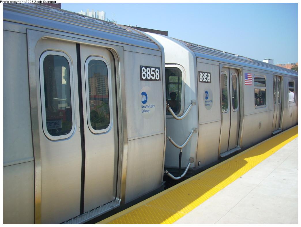 (207k, 1044x788)<br><b>Country:</b> United States<br><b>City:</b> New York<br><b>System:</b> New York City Transit<br><b>Line:</b> BMT Brighton Line<br><b>Location:</b> Ocean Parkway <br><b>Route:</b> Q<br><b>Car:</b> R-160B (Kawasaki, 2005-2008)  8858/8859 <br><b>Photo by:</b> Zach Summer<br><b>Date:</b> 7/29/2008<br><b>Viewed (this week/total):</b> 0 / 2038