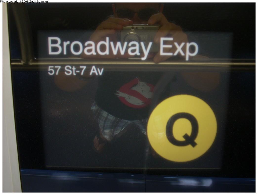 (160k, 1044x788)<br><b>Country:</b> United States<br><b>City:</b> New York<br><b>System:</b> New York City Transit<br><b>Route:</b> Q<br><b>Car:</b> R-160B (Kawasaki, 2005-2008)  8858 <br><b>Photo by:</b> Zach Summer<br><b>Date:</b> 7/29/2008<br><b>Notes:</b> Interior route sign.<br><b>Viewed (this week/total):</b> 0 / 1311