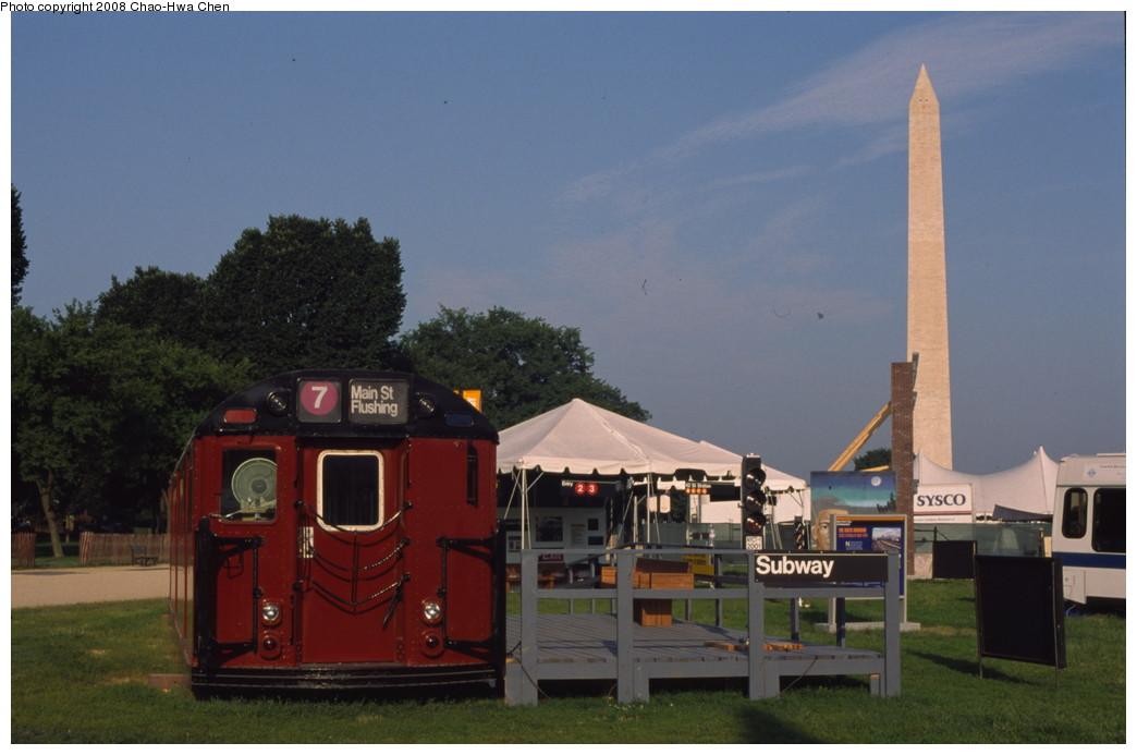 (146k, 1044x693)<br><b>Country:</b> United States<br><b>City:</b> New York<br><b>System:</b> New York City Transit<br><b>Location:</b> Smithsonian Folklife Festival, The Mall, Washington, D.C.<br><b>Car:</b> R-33 Main Line (St. Louis, 1962-63) 9056 <br><b>Photo by:</b> Chao-Hwa Chen<br><b>Date:</b> 6/30/2001<br><b>Viewed (this week/total):</b> 1 / 3333