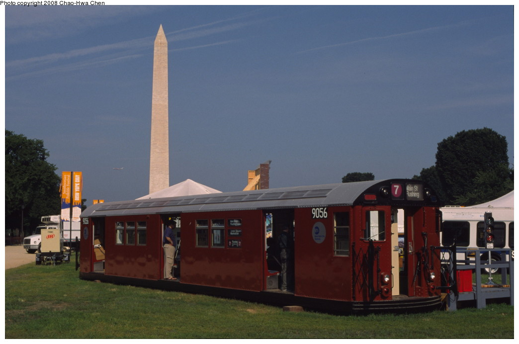 (132k, 1044x692)<br><b>Country:</b> United States<br><b>City:</b> New York<br><b>System:</b> New York City Transit<br><b>Location:</b> Smithsonian Folklife Festival, The Mall, Washington, D.C.<br><b>Car:</b> R-33 Main Line (St. Louis, 1962-63) 9056 <br><b>Photo by:</b> Chao-Hwa Chen<br><b>Date:</b> 6/30/2001<br><b>Viewed (this week/total):</b> 4 / 2395