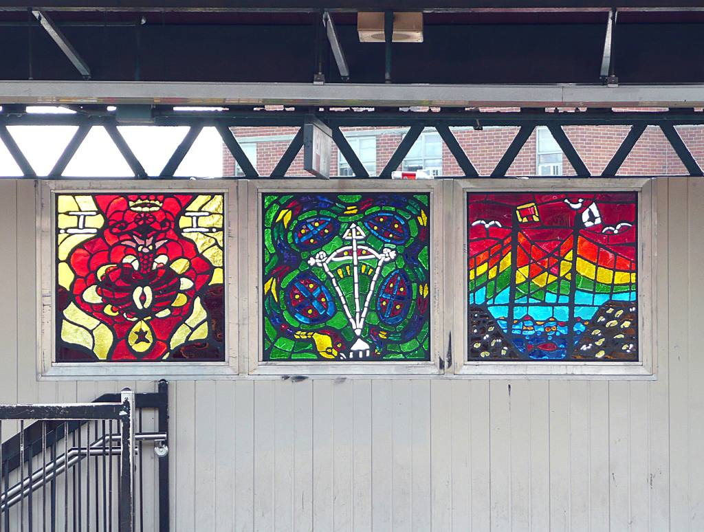 (151k, 1024x774)<br><b>Country:</b> United States<br><b>City:</b> New York<br><b>System:</b> New York City Transit<br><b>Line:</b> BMT Nassau Street/Jamaica Line<br><b>Location:</b> Halsey Street <br><b>Photo by:</b> Robbie Rosenfeld<br><b>Date:</b> 7/28/2008<br><b>Artwork:</b> <i>Ancestral Letters in SOL'SCRYPT</i>,  SOL'SAX (2007).<br><b>Viewed (this week/total):</b> 6 / 1434