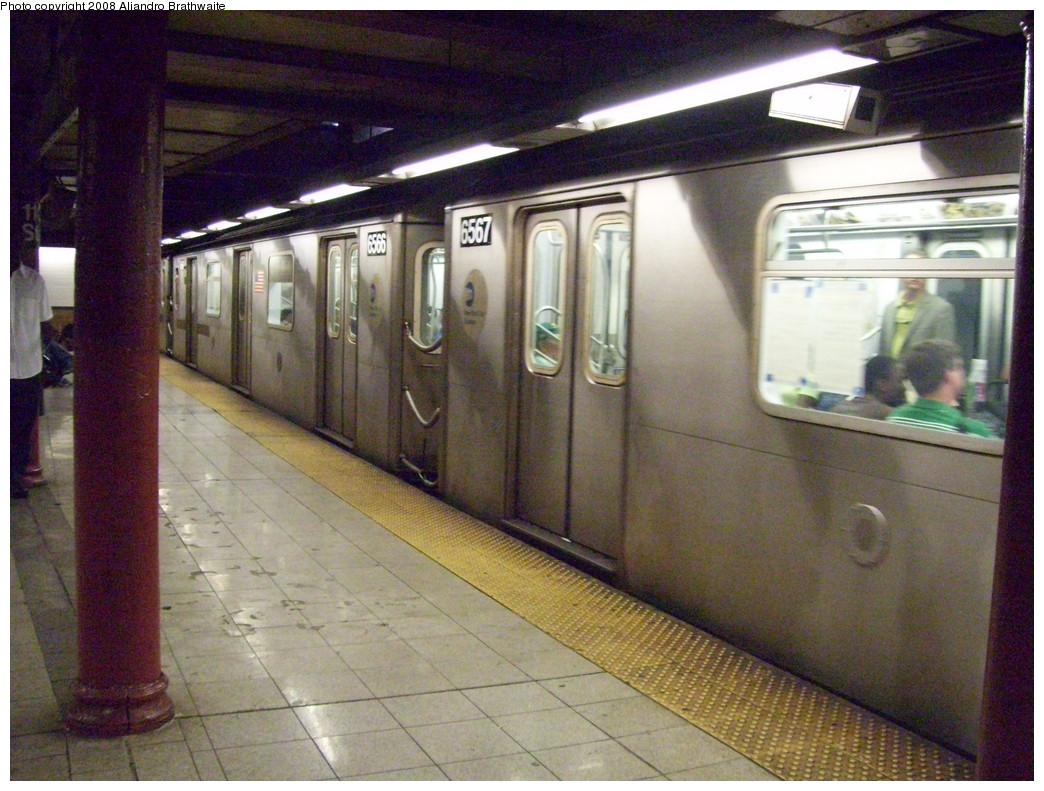 (260k, 1044x791)<br><b>Country:</b> United States<br><b>City:</b> New York<br><b>System:</b> New York City Transit<br><b>Line:</b> IRT Lenox Line<br><b>Location:</b> 110th Street/Central Park North <br><b>Route:</b> 2<br><b>Car:</b> R-142 (Primary Order, Bombardier, 1999-2002)  6567 <br><b>Photo by:</b> Aliandro Brathwaite<br><b>Date:</b> 7/25/2008<br><b>Viewed (this week/total):</b> 4 / 2779
