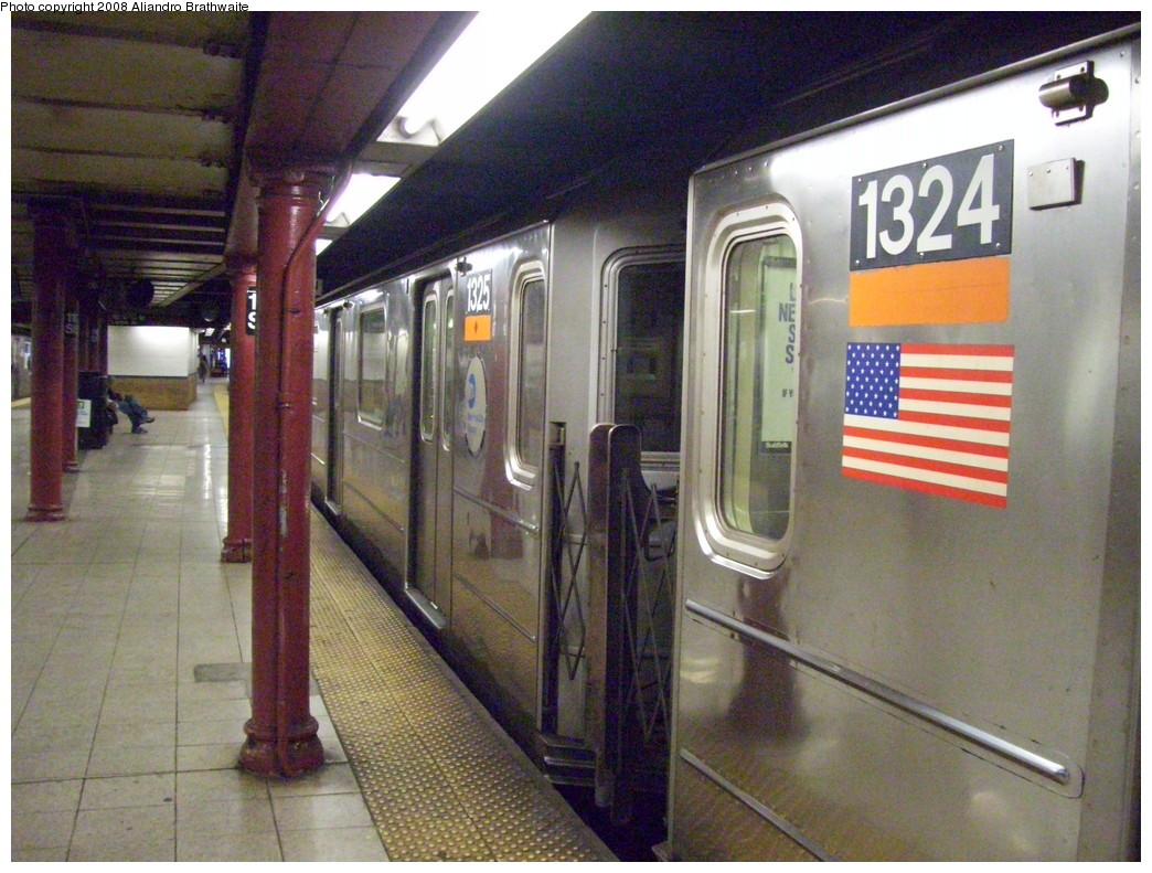 (262k, 1044x791)<br><b>Country:</b> United States<br><b>City:</b> New York<br><b>System:</b> New York City Transit<br><b>Line:</b> IRT Lenox Line<br><b>Location:</b> 110th Street/Central Park North <br><b>Route:</b> 3<br><b>Car:</b> R-62 (Kawasaki, 1983-1985)  1324 <br><b>Photo by:</b> Aliandro Brathwaite<br><b>Date:</b> 7/25/2008<br><b>Viewed (this week/total):</b> 2 / 2600
