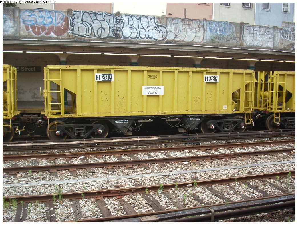 (364k, 1044x788)<br><b>Country:</b> United States<br><b>City:</b> New York<br><b>System:</b> New York City Transit<br><b>Line:</b> BMT Sea Beach Line<br><b>Location:</b> 86th Street <br><b>Route:</b> Work Service<br><b>Car:</b> R-80 MoW Hopper (1983, Maxon)  287 <br><b>Photo by:</b> Zach Summer<br><b>Date:</b> 7/6/2008<br><b>Viewed (this week/total):</b> 1 / 1157