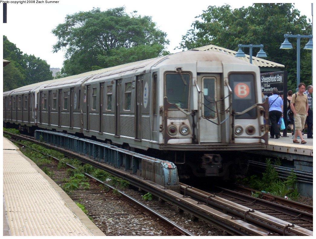 (228k, 1044x788)<br><b>Country:</b> United States<br><b>City:</b> New York<br><b>System:</b> New York City Transit<br><b>Line:</b> BMT Brighton Line<br><b>Location:</b> Sheepshead Bay <br><b>Route:</b> B<br><b>Car:</b> R-40 (St. Louis, 1968)  4308 <br><b>Photo by:</b> Zach Summer<br><b>Date:</b> 7/9/2008<br><b>Viewed (this week/total):</b> 0 / 1322